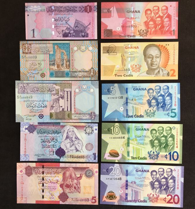 World - Ghana & Libya - 10 Different banknotes 2002-2019