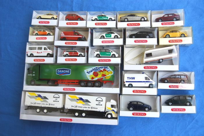 Wiking 1:87 - Scenery - 20 private cars, service cars, trucks, caravan