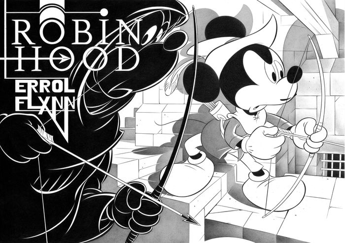 """Mickey Mouse in """"Robin Hood"""" - Large Giclée 3/5 - Jaume Esteve Signed - On Canvas - Unique Limited Edition"""