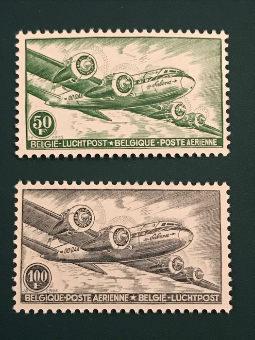 Belgique 1954 - Skymaster - changed type - OBP / COB PA10A/11A