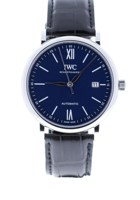 "IWC - Portofino Automatic Edition ""150 Years"" Steel Blue Dial Black Alligator Strap Limited Edition of 200 - IW356518 - Unisex - 2019"