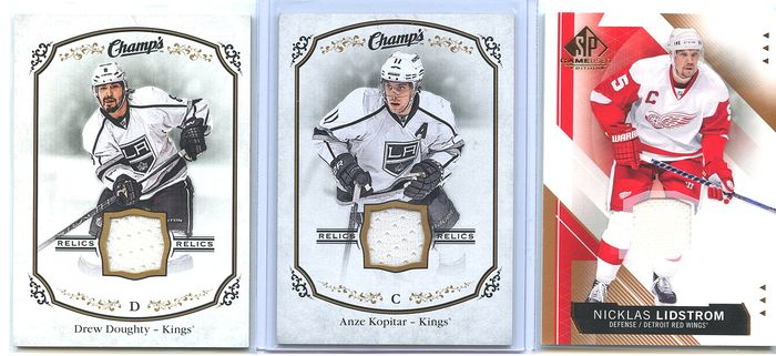 NHL - Anze Kopitar, Nicklas Lidstrom, Drew Doughty - Sports cards