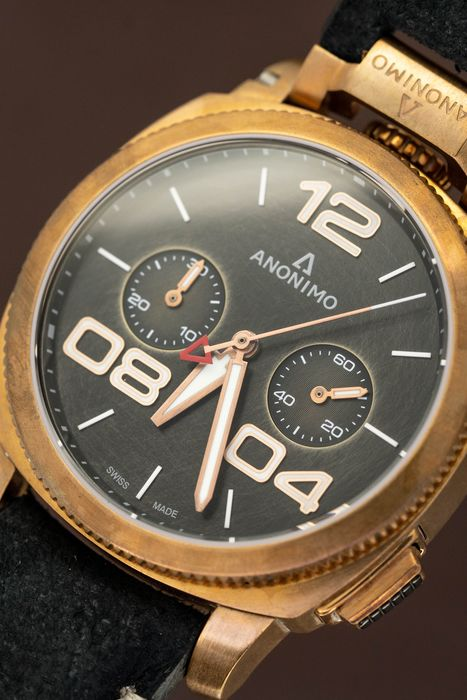 Anonimo - Automatic Bronze Militare Chrono Brown with Hand Made Italian Leather Strap - AM-112004001A01 - Hombre - BRAND NEW