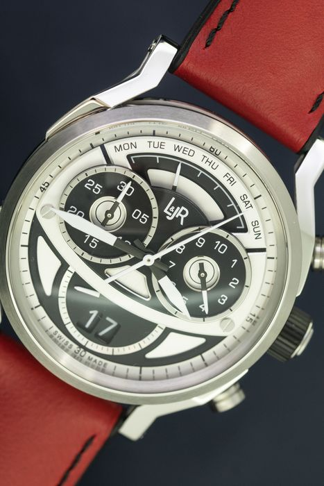 L&Jr - Chronograph Day and Date Black and Grey Dial with Burgundy Strap + Extra Black Strap - S1503-S12 - Herren - 2011-heute
