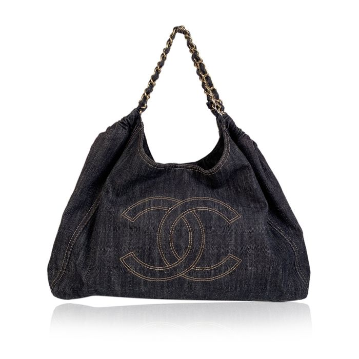 Chanel - Blue Denim Jeans Large Coco Cabas Hobo Tote bag