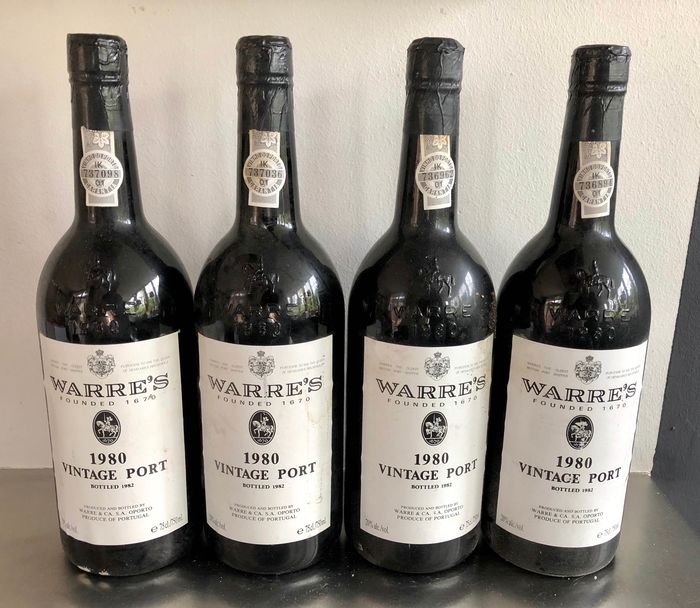 1980 Warre's Vintage Port - 4 Bottiglie (0,75 L)