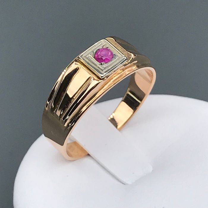 18 kt. White gold, Yellow gold - Ring - 0.06 ct Ruby