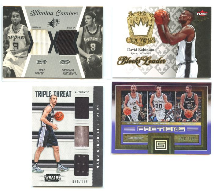 San Antonio Spurs - NBA Basketbal - David Robinson, Tony Parker, Manu Ginobili, Raso Nesterovic, Tim Duncan - Sports cards