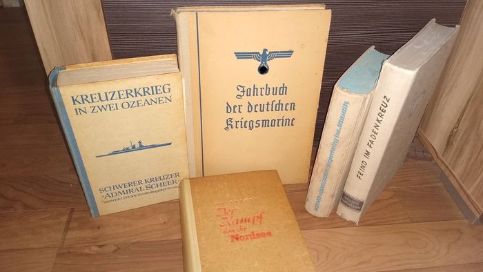 Germany - Book, Book bundle German Navy, cruiser Admiral Scheer, caper war, submarine captain Hartmann