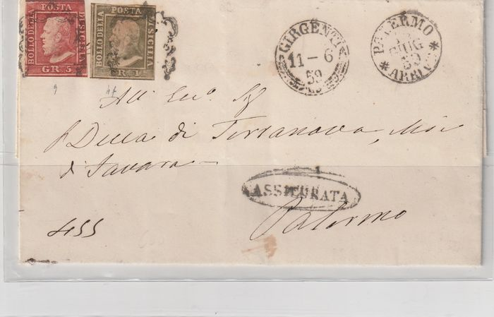 Italiaanse oude staten - Sicilië 1859/1859 - Insured letter with two stamps, Diena certificate - Sassone prima tavola