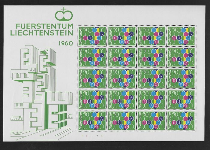 Liechtenstein 1960 - Europa CEPT. Complete sheetlet of 20 stamps - Michel 398 I