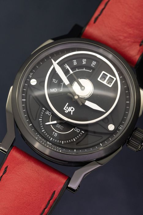 L&Jr - Day and Date Black Dial with Burgundy Strap + Extra Grey Strap - S1305-S12 - Herren - 2011-heute