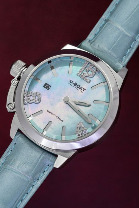 U-Boat - U-Boat Precious Classico Watch 38MM Turquoise Mother of Pearl Leather Strap - 8481 - Damen - Brand New