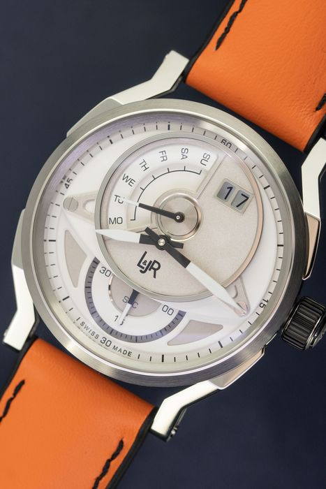 L&Jr - Day and Date Silver Dial with Orange Strap + Extra Black Strap - S1304-S5 - Herren - 2011-heute