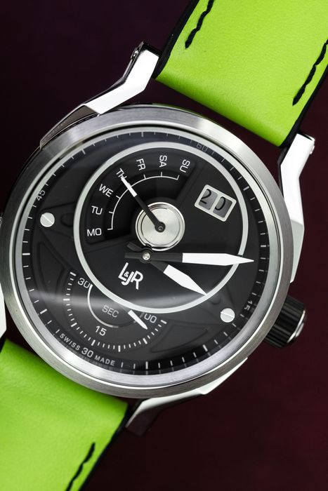 L&Jr - Day and Date Black Dial with Green Strap + Extra Black Strap - S1302-S11 - Herren - 2011-heute