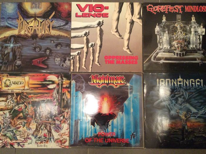 Various Artists/Bands in Hardrock-Heavy Metal, Vio-Lence, Purgatory, Omen, Nightmare, Gorefest & Iron Ange - Múltiples artistas - Múltiples títulos - LP - 1984/1993