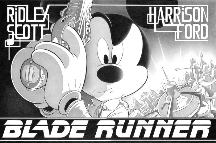 """Mickey Mouse in """"Blade Runner"""" - Large Giclée 2/5 - Jaume Esteve Signed - Canvas - Unique Limited Edition"""