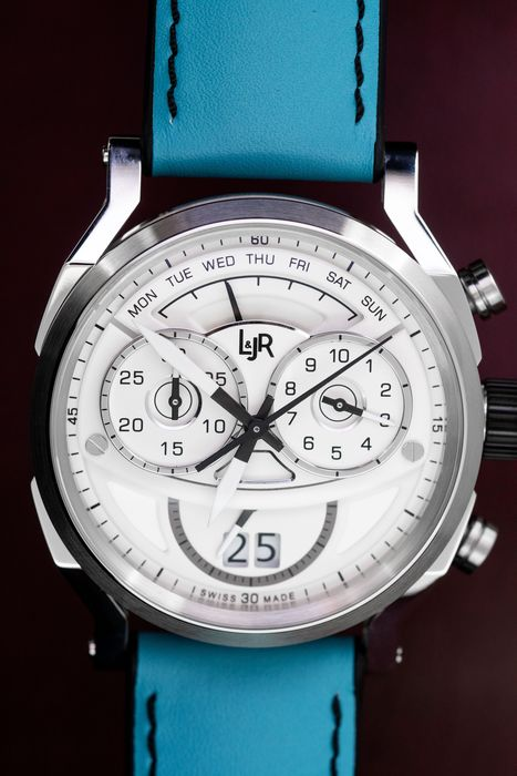 L&Jr - Chronograph Day and Date White Dial and Green Strap + Extra Black Strap - S1504-S11 - Herren - 2011-heute
