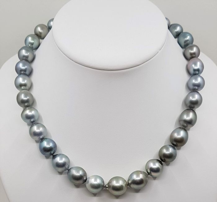 UNITED PEARL - NO RESERVE PRICE - 925 Silver - 11.2x14.5mm Metallic Grey Tahitian Pearls - Necklace