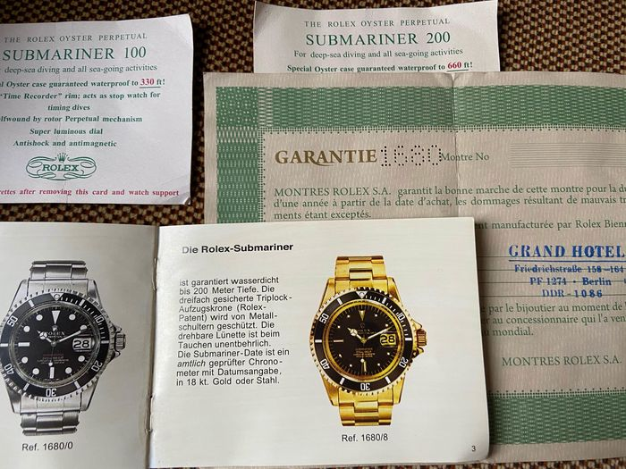 Rolex - Guarantee -Submariner-Ref. 1680 punched - Dealer Stamp- Booklet- 2X cigarette Sub - No Reserve Price - 572.01.300 - Unisex - 1970-1980