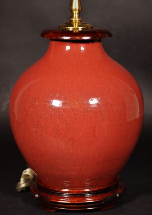 Beautiful sang de oxblood red glaze - Porcelain Vase Lamp - China - Early 19th century