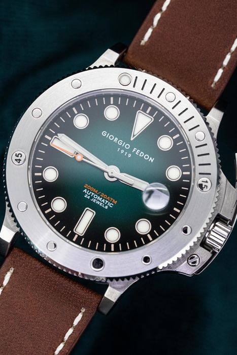 "Giorgio Fedon - Automatic Diver Watch Aquamarine II Green with Italian Leather Strap - GFCR002 ""NO RESERVE PRICE"" - Herren - Brand New"
