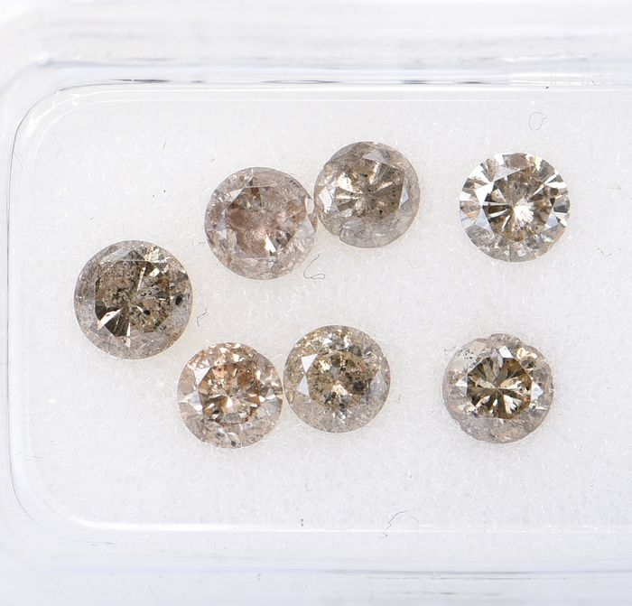 7 pcs Diamant - 1.62 ct - Briljant, Rond - Mix Brown - I1 - I3     ** No Reserve Price **