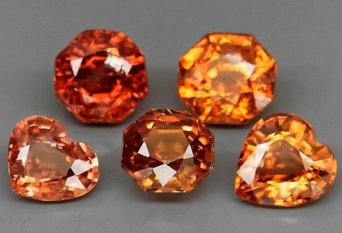 5 pcs Whisky à l'orange Zircon - 7.73 ct