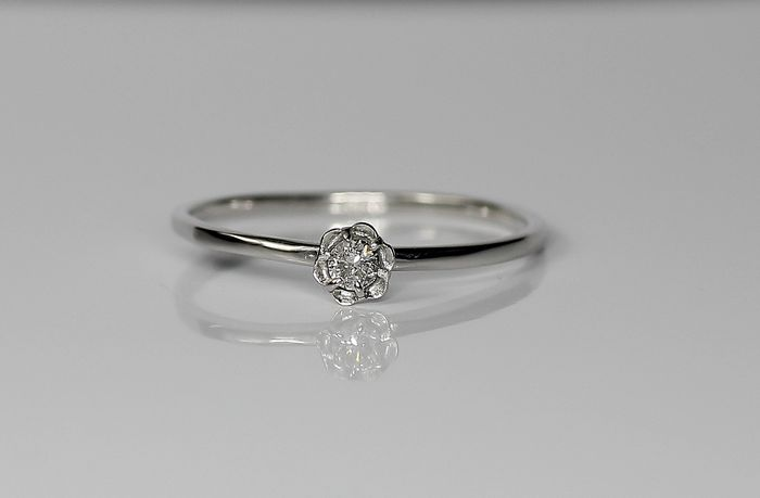 14 quilates Oro blanco - Anillo - 0.08 ct Diamante