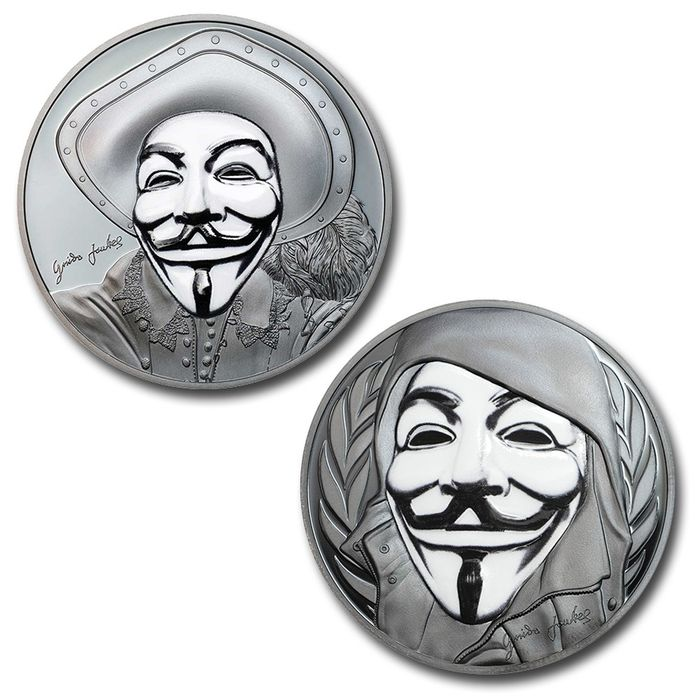 """Cook Islands - 5 Dollar  - 2016/17 - """"GUY FAWKES MASK + HISTORIC GUY FAWKES MASK"""" - Maschera Anonymous - Black Proof - 1 Oz  - Silver"""