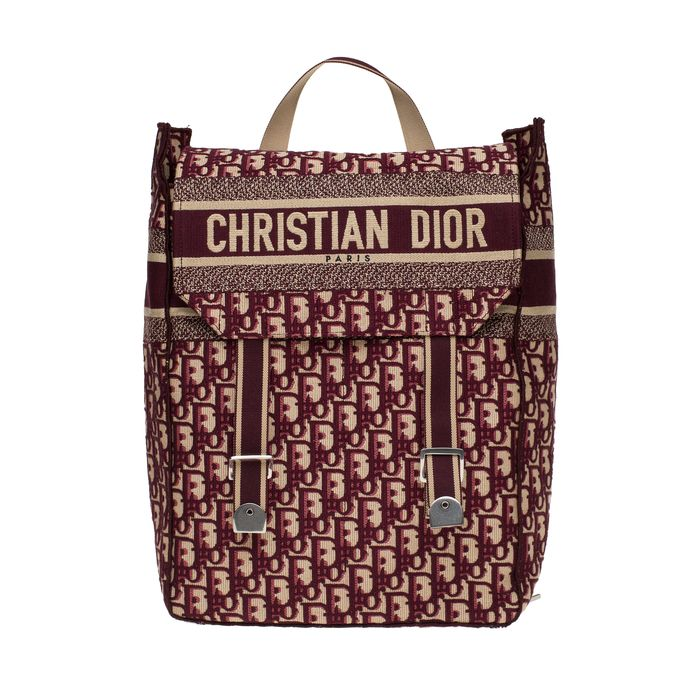 Christian Dior - NEW - Burgundy Oblique Monogram Canvas backpack - Rugzak