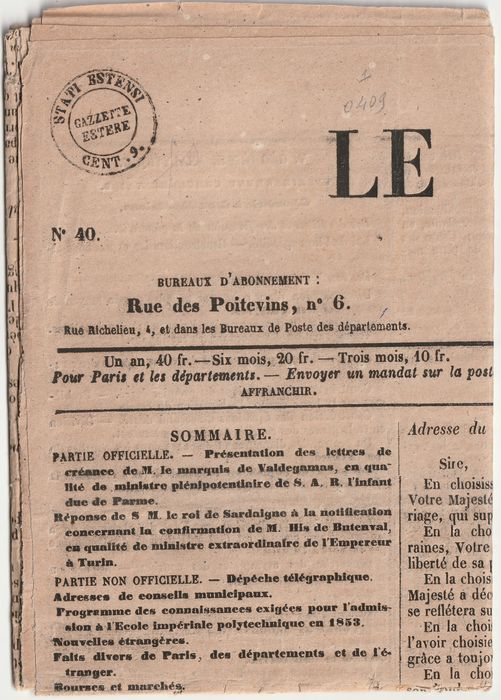 Italiaanse oude staten - Modena 1860 - Foreign gazettes 9 cents on French newspaper Le Moniteur Universel - Sassone N.B1
