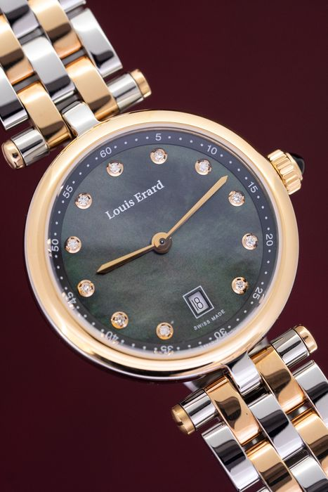 Louis Erard - 11 Diamonds hour markers Black Mother of Pearl Cabochon Sapphire Romance Collection Swiss Made - 10800AB29.BMA26 - Damen - Brand New