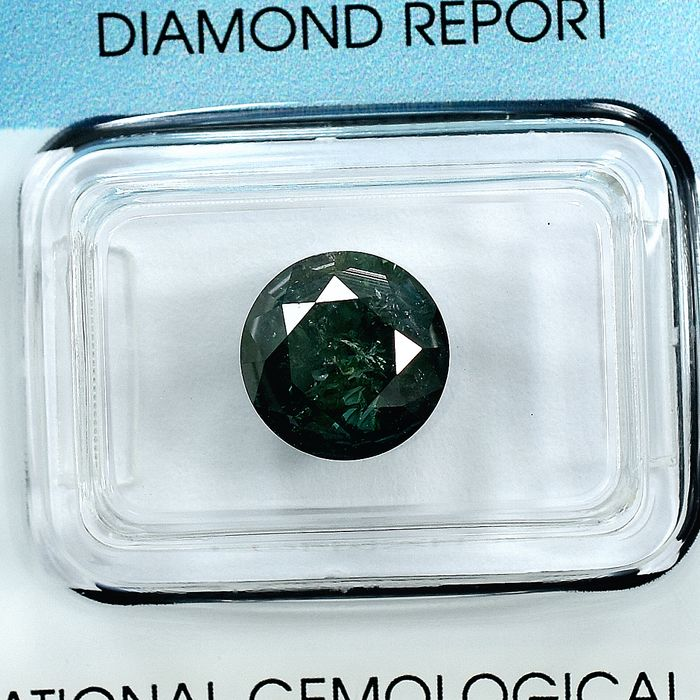 Diamante - 3.01 ct - Brillante - Fancy Deep Green - I3 - NO RESERVE PRICE