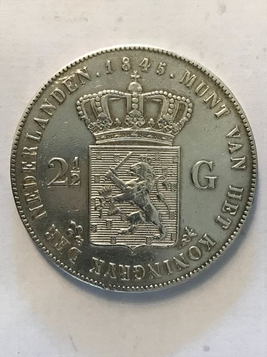 The Netherlands - 2 1/2  Gulden 1845 parel op band - Willem II - Silver