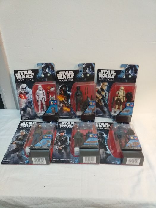 Star Wars - Rogue One - Lot of 6 - Hasbro - 1:10 - Pupazzetto Shoretrooper / Stormtrooper / Imperial Ground Crew / Bodhi Rook /K-250 /Jyn Erso