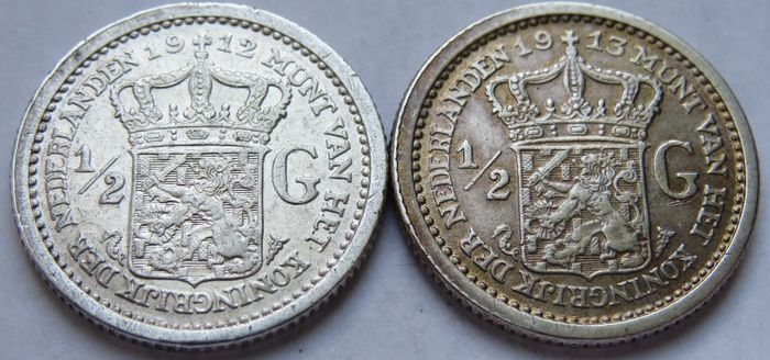 The Netherlands - 1/2 Gulden 1912 & 1913 Wilhelmina - Silver