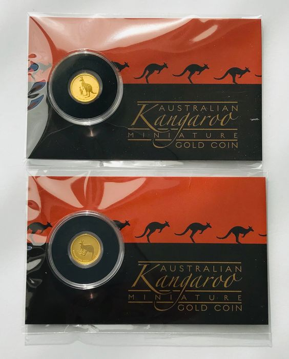 Australia. 2 Dollars 2019 und 2020 - 2 Mini Roo in Blister - 2 x 0,5 g