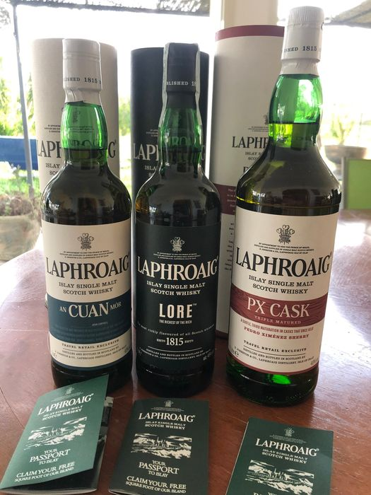 Laphroaig An Cuan Mo - Lore - Px Cask Triple matured - Original bottling - 70cl - 3 bottles