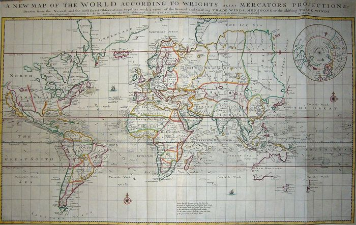 Welt, World; H. Moll - A New Map of the World according to Wright's (..) - 1701-1720