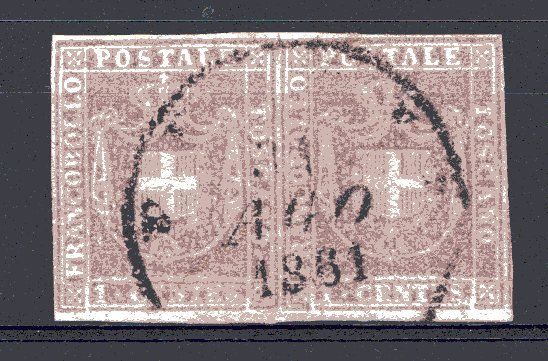Italiaanse oude staten - Toscane 1860 - Provisional Government used pair of 1 cent - Sassone