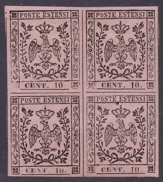 Italiaanse oude staten - Modena 1852 - 10 cents pink in block of four, one without dot after the figure and three with dot - Sassone NN. 9, 9k
