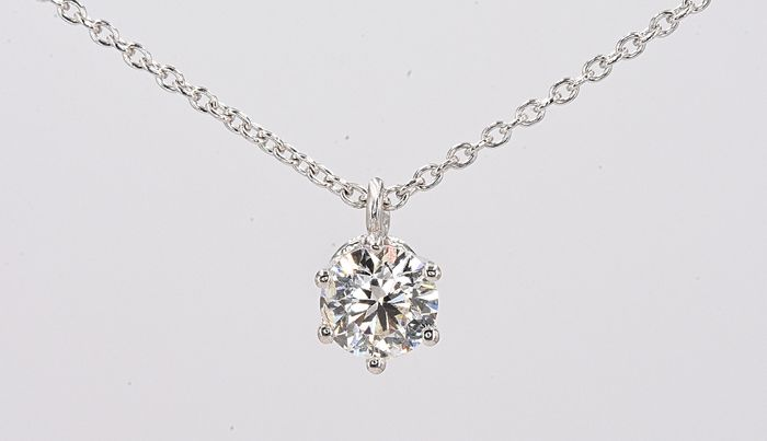 18 carats Or blanc - Collier - 0.55 ct Diamant