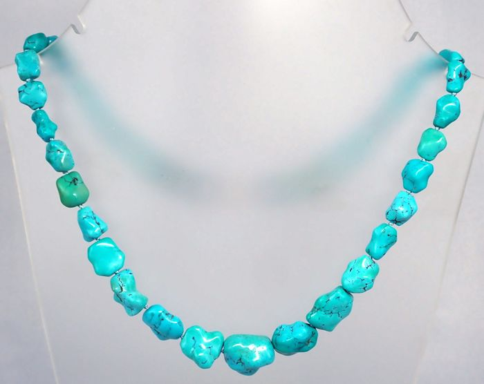 Oude turquoise ketting, onbehandeld, 428ct - 85.6 g