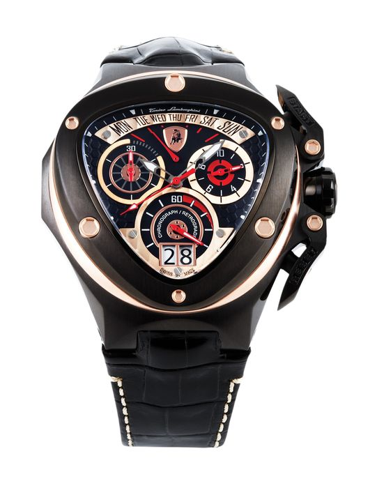 Tonino Lamborghini - Chronograph Watch Spyder Black PVD Rose Gold with Leather Strap Swiss Made - 3015 - Homme - 2011-aujourd'hui