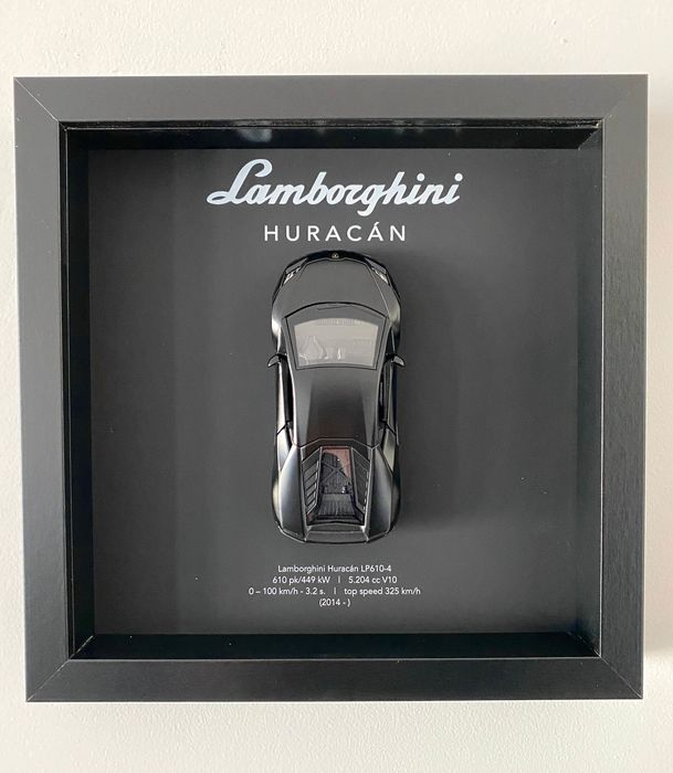 Decorative object - Framed 3D object Lamborghini Huracán MATT BLACK EDITION - Lamborghini