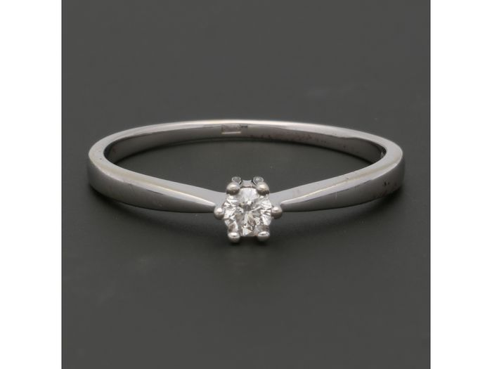 14 carats Or blanc - Bague - 0.12 ct Diamant