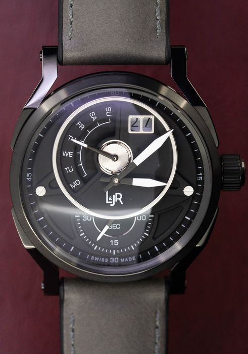 L&Jr - Day and Date Black Dial with Grey Strap - S1305 - Herren - 2011-heute