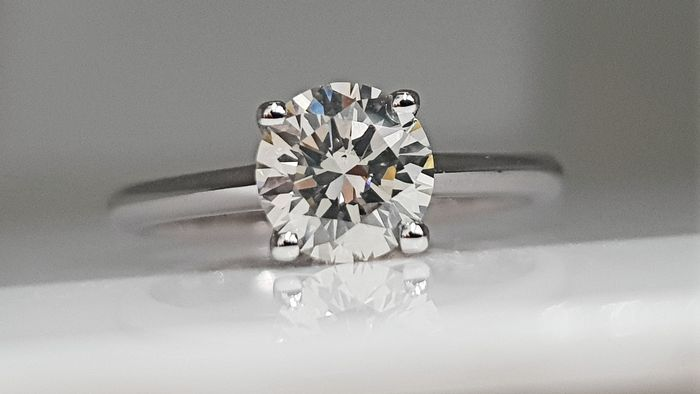 14 quilates Oro blanco - Anillo - 1.11 ct Diamante - Sin reserva