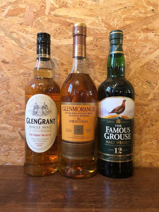 Glen Grant - Glenmorangie 10 years - Famous Grouse 12 years old - 70cl